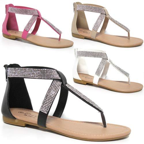 Sandals Beach House: Ladies Flat Sandals Womens Girls Summer Gladiator Fancy