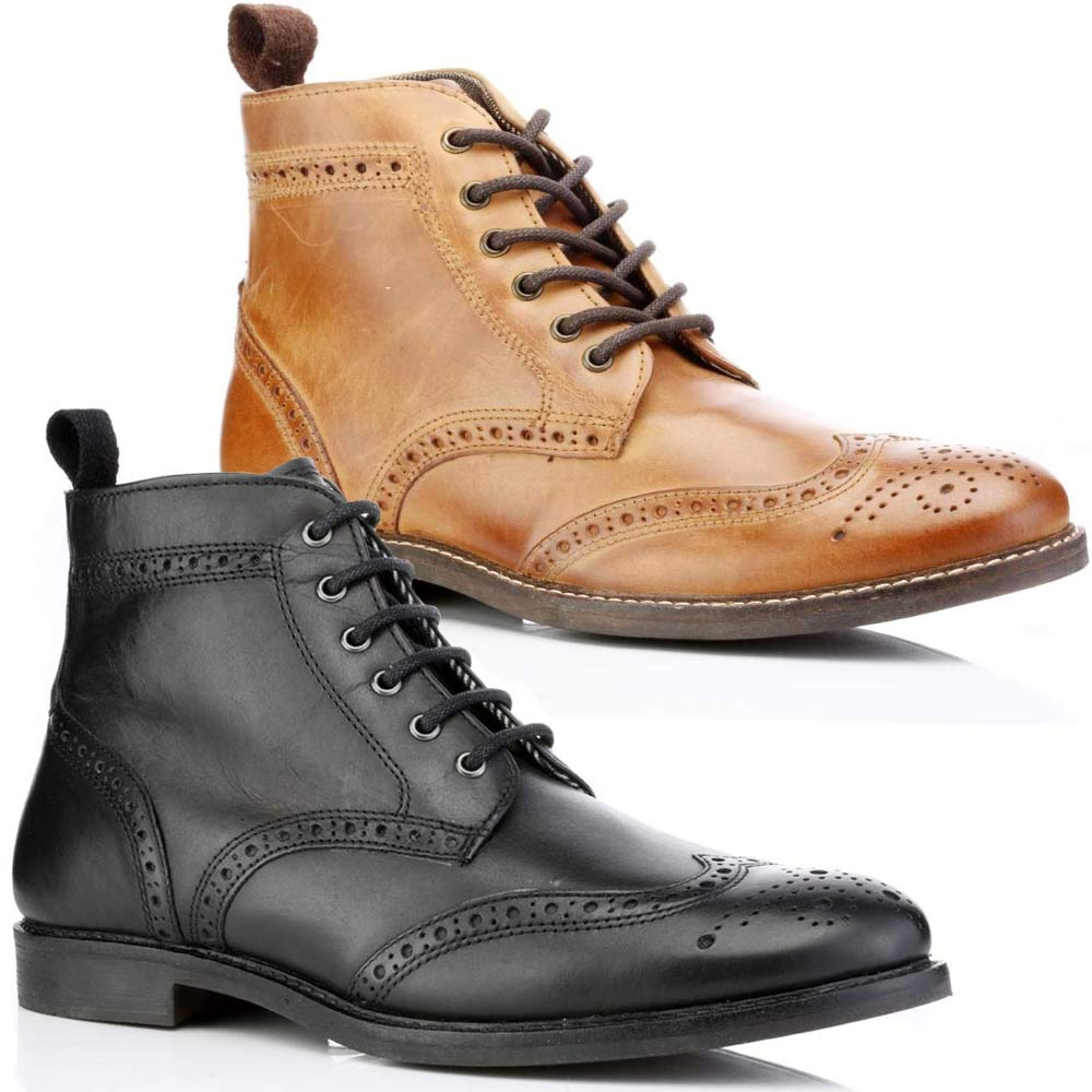 mens leather boots new smart formal brogue combat lace