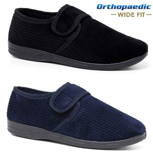 MENS DIABETIC ORTHOPAEDIC EASY CLOSE WIDE FITTING STRAP SLIPPERS SHOES SIZE 6 12