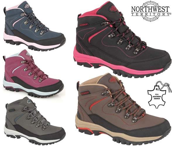 Ladies Womens Leather Walking Hiking Waterproof Ankle