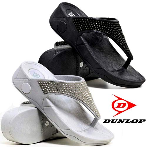 Ladies Low Wedge Heel Comfort Walking Fit Flip Flops