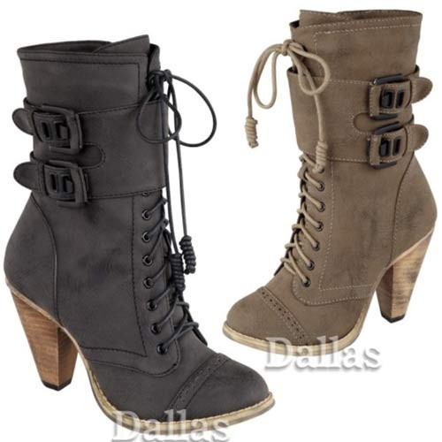 Black Ladies Ankle High Heel Biker Winter Boots