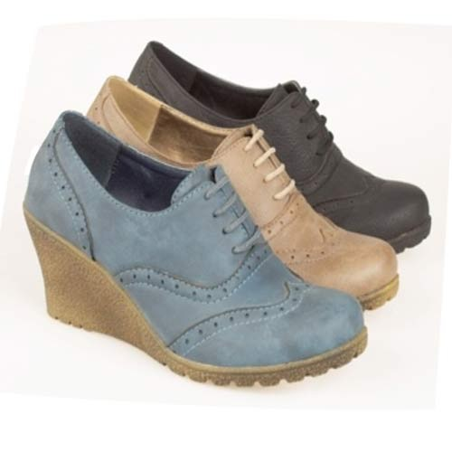 Ladies Wedge Ankle Office Smart Formal Brogue Shoes
