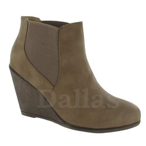 TAUPE LADIES CHELSEA BOOTS WOMENS GIRLS ANKLE DESERT WEDGE HEELS BOOTS SHOES SIZE