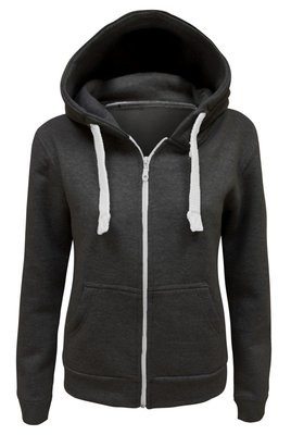BLACK LADIES FULL ZIP HOODED TOP WINTER WARM THERMAL JUMPER