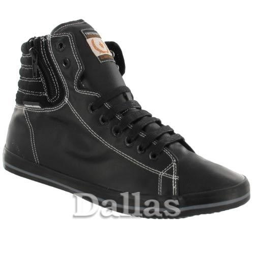 Black Mens High HI Tops Trainers Boys Casual Lace Up Ankle Canvas Retro