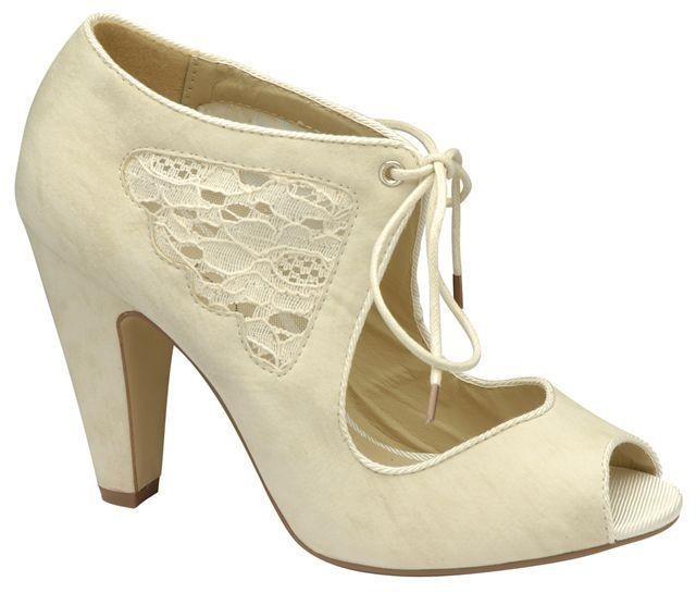 Cream Ladies Peep Toe Wedding Shoes