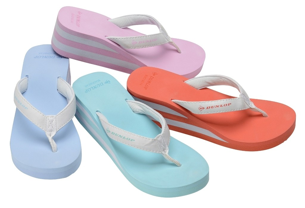 DUNLOP LADIES WEDGE SUMMER SANDALS WOMENS GIRLS FLIP FLOPS BEACH TOE POST SHOES SIZE