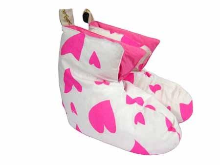 Ladies Pink Heart Duck Down Slippers
