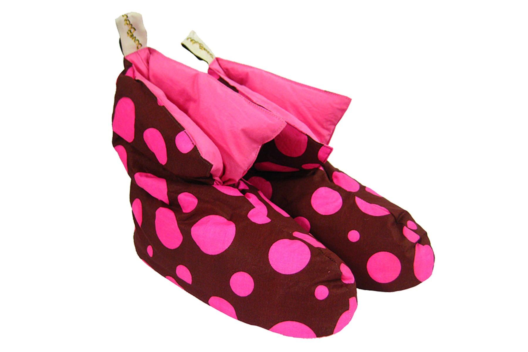 Ladies Brown/Pink Polkadot Duck Down Slippers