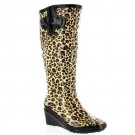 Ladies Leopard Wedge Wellingtons Wellies Boots