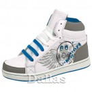 WHITE BOYS GIRLS ANKLE HI HIGH TOPS SKATE TRAINERS