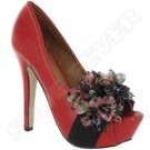 Red Multi Womens Wedding High Heel Peep Toe Sandals