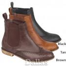 Flat Heel Tan Brogue Chelsea Ankle Boots