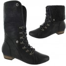 Ladies Slouch Ankle Black Biker Boots
