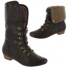 Ladies Slouch Ankle Brown Biker Boots