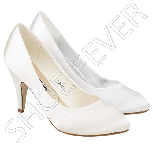 Ladies Wedding Shoes Womens Heels Satin Bridal Ivory Bridesmaid Court Shoes Size