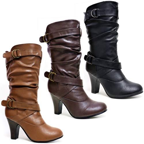 Ladies Womens Faux Leather Mid Calf High Heels Fashion
