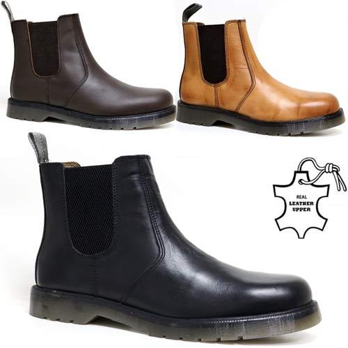 Mens Oaktrak Leather Chelsea Dealer Casual Biker Ankle Smart Work Boots Size UK
