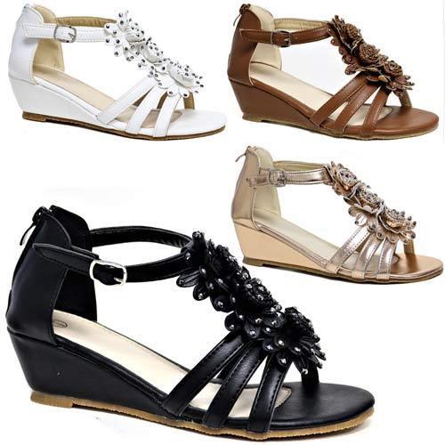 Womens Ladies Wedge Summer Beach Fashion Strappy Comfort Sandals Sizes 3-8