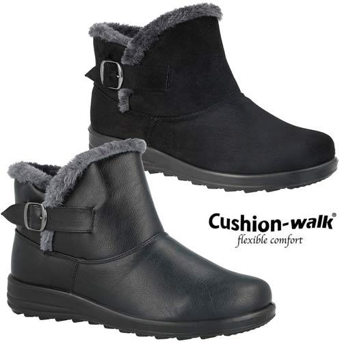 Ladies Cushion Walk Faux Suede Buckle Warm Faux Fur Sheepskin Chelsea Ankle Boot