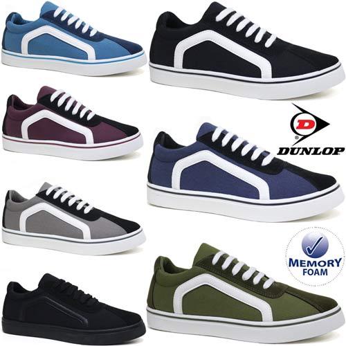 Mens British Designed Retro Canvas Trainers Plimsolls Lace Up Pumps Casual Shoes