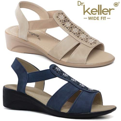 WOMENS DR KELLER GREY WEDGE SANDALS LADIES WIDE FIT SUMMER DRESS SHOES SIZE 3-8